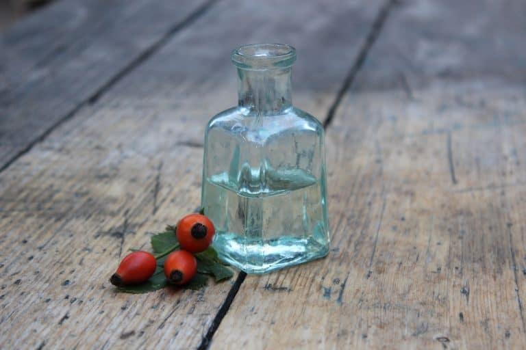 Hagebuttenbeeren neben Glasflasche