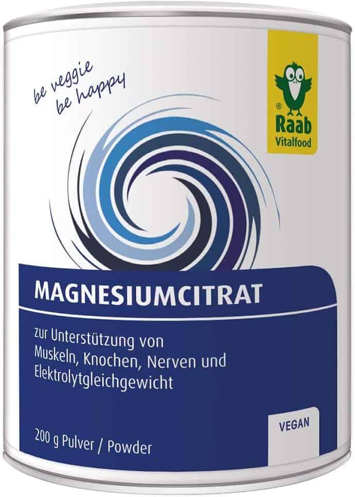Raab Vitalfood Magnesium-Citrat Pulver 200 g, vegan, laborgeprüft, gut zu dosieren, ideal für Sportler, zur Unterstützung von Muskeln Knochen Nerven, Elektrolyt-Haushalt, 1er Pack (200 g)