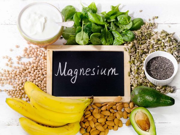Products containing magnesium. Healthy food concept. Top view