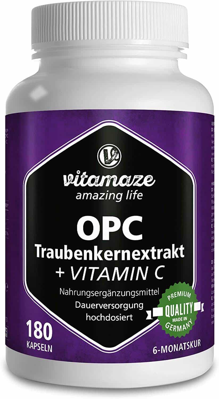 OPC Traubenkernextrakt Kapseln, zertifiziert, hochdosiert: 450 mg reines OPC, 180 Kapseln für 6 Monate, ohne Zusätze, Made-in-Germany
