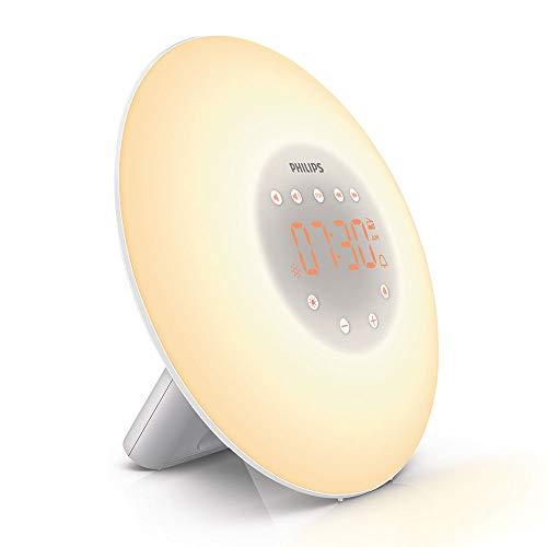 Philips Wake-Up Lichtwecker, Sonnenaufgangssimulation, 2 natürliche Klänge, FM Radio & Leselampe, Tap Snooze, HF3505/01