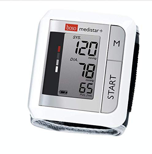 boso medistar+ – Handgelenk Blutdruckmessgerät mit Speicher für 90 Messungen, extra großem Display und Arrhythmie-Erkennung – Inkl. Handgelenkmanschette (13,5-21,5 cm), weiß
