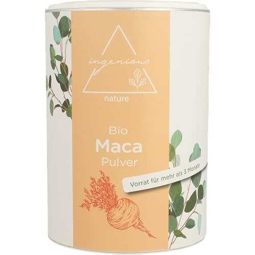 ingenious nature® Laborgeprüftes Bio Maca Pulver 500g - von der roten Maca Wurzel - 100% rein, ohne Zusätze, roh, aus Peru. Angebaut auf über 4400m. Vorrat für 100 Tage.