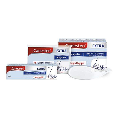 CanestenExtraNagelset zur Behandlung von Nagelpilz mit Salbe, 15 Hygiene-Pflastern und Spatel