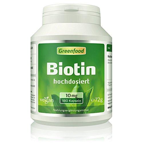 Biotin (Vitamin B7), 10 mg, hochdosiert, 120 Vegi-Kapseln – das Beauty-Vitamin für schöne Haut und kräftige Haare. OHNE künstliche Zusätze. Ohne Gentechnik. Vegan.