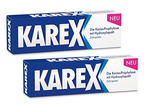 KAREX Zahnpasta – Regenerierende Zahncreme für modernen Karies-Schutz ohne Fluorid – auch bei Speichelmangel geeignet – 2 x 75 ml