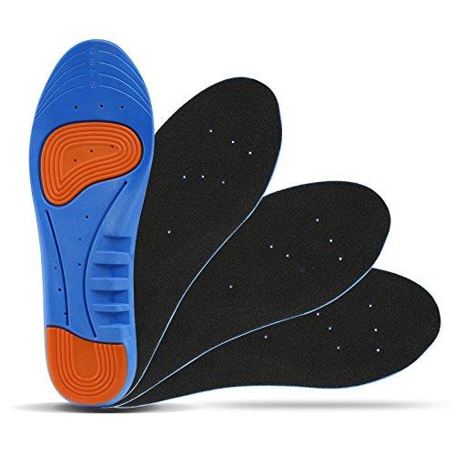 LIHAO 2 Paare Einlegesohlen Gel Fußbett Sport Schuheinlagen mit Schnittgröße Linien für Freizeit Arbeitsschuhe Alltag Atmungsaktiv