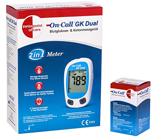 On Call GK Dual Ketone Pack | 1 x GK Dual Messgerät (mmol/l) und 1 x Ketone Teststreifen (25 Stück) im praktischen Set | zur Ketonmessung | Punktierhilfen etc. NICHT im Set enthalten