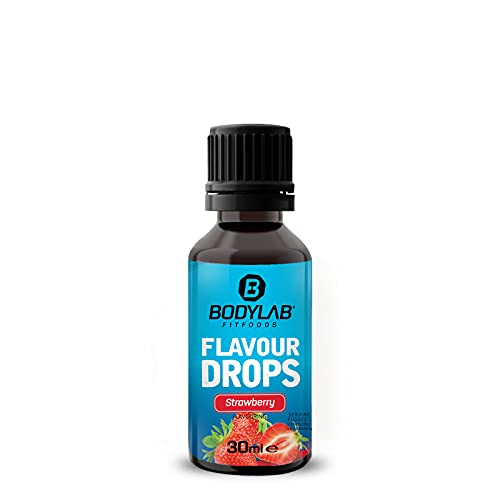 Bodylab24 Flavour Drops 30ml, Kalorienfreie, Zuckerfreie und Fettfreie Aroma-Tropfen, Flav-Drops zum Süßen von Lebensmitteln, Kaffee Sirup, Geschmackstropfen ohne Künstliche Farbstoffe, Erdbeere