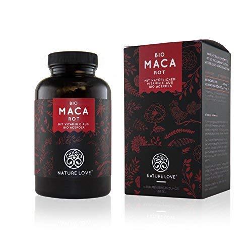 NATURE LOVE® Bio Maca - 180 Kapseln - 3000 mg Bio Maca rot pro Tagesdosis - Mit natürlichem Vitamin C, ohne Zusätze wie Stearat - Zertifiziert Bio, hochdosiert, vegan, in Deutschland produziert