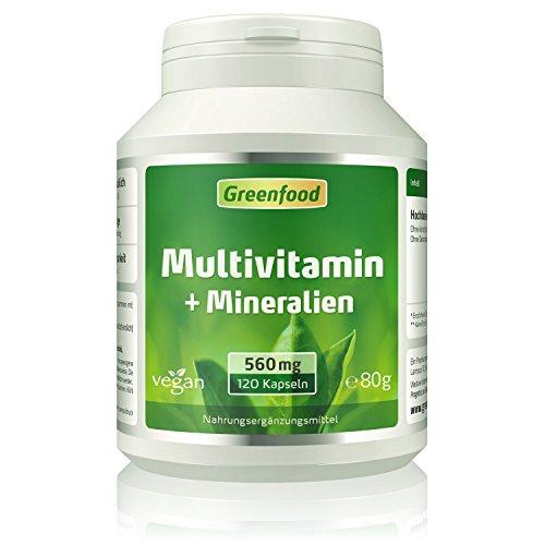 Multivitamin + Mineralien, 560 mg, hochdosiert, 120 Kapseln – alle wichtigen Vitamine (Tagesbedarf), Mineralien und Spurenelemente. Mit hoher Bioverfügbarkeit. OHNE künstliche Zusätze. Vegan.