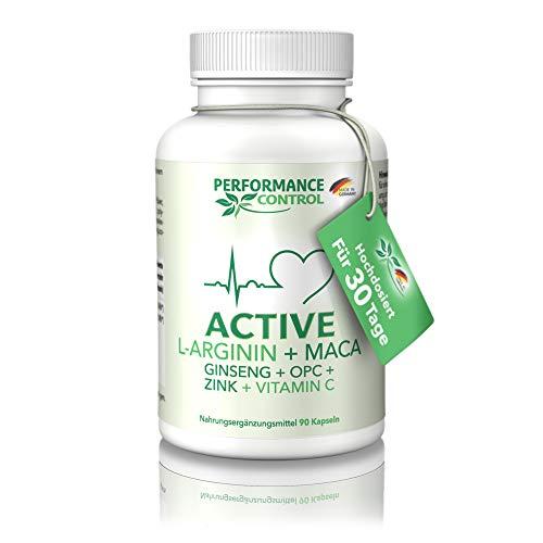 Performance Control® ACTIVE - L-Arginin + Maca + Ginseng + OPC + Zink + Vtamin C - Made in Germany - Für 30 Tage