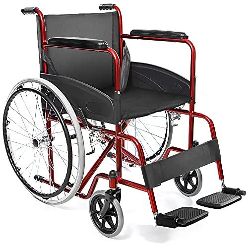 AIESI® Rollstuhl faltbar leichter selbstfahrender für ältere und behinderte menschen AGILA BASIC # Feste armlehnen und fußstützen # Sicherheitsgurt # 24 monate garantie