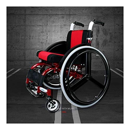 Ultraleichter zusammenklappbarer Aluminium-Transit-Reiserollstuhl , Stilvoller Sportrollstuhl mit zusammenklappbarem Rücken